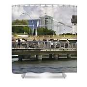 Digital Oil Painting - Visitors On Viewing Plaza On Singapore River Next To The Merlion Shower Curtain