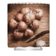 Digital Painting Of Brown Onions On Kitchen Table Shower Curtain