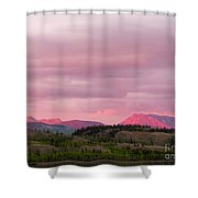 Distant Yukon Mountains Glowing In Sunset Light Shower Curtain