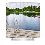 Dock On Calm Lake In Cottage Country Shower Curtain