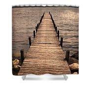 Dock On Mountain Lake Shower Curtain