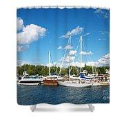 Door County Harbor Shower Curtain