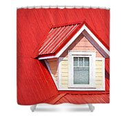 Dormer Window On Red Roof Shower Curtain