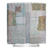 Double Doors Of Unfinished Projects In Blue  Shower Curtain
