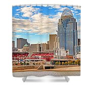 Downtown Cincinnati Pano1 Shower Curtain