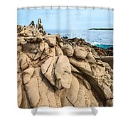 Dramatic Lava Rock Formation Called The Dragon's Teeth In Maui. Shower Curtain