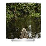 Dugout Canoe In Blackwater Stream Shower Curtain