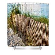 Dune Fence On Beach  Shower Curtain