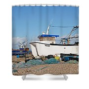 Dungeness Fishing Boats Shower Curtain