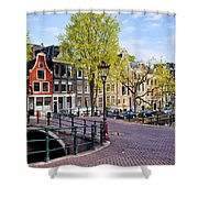 Dutch Canal Houses In Amsterdam Shower Curtain