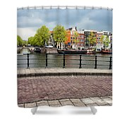 Dutch Houses By The Amstel River In Amsterdam Shower Curtain