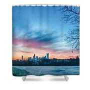 Early Morning Sunrise Over Charlotte City Skyline Downtown Shower Curtain