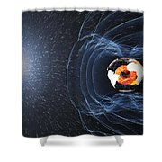 Earths Magnetic Field Shower Curtain