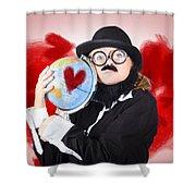 Eccentric Man Showing World Love By Cuddling Globe Shower Curtain