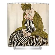 Edith With Striped Dress Sitting Shower Curtain