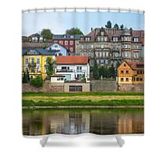 Elbe River Town Shower Curtain