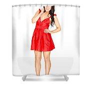 Elegant Woman Full Body Portrait Isolated On White Shower Curtain