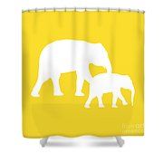 Elephant In Golden And White Shower Curtain