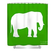 Elephant In Green And White Shower Curtain
