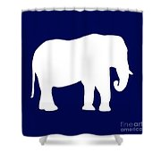 Elephant In Navy And White Shower Curtain