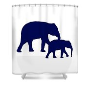 Elephants In Navy And White Shower Curtain