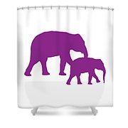 Elephants In Purple And White Shower Curtain