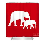 Elephants In Red And White Shower Curtain