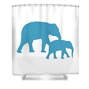 Elephants In White And Turquoise Shower Curtain