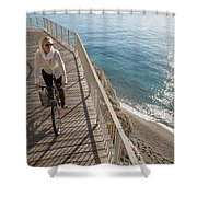 Elevated Perspective Of Woman Riding Shower Curtain