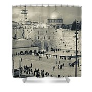 Elevated View Of The Western Wall Shower Curtain
