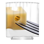 Emmental Cheese On Fork Against White Background Shower Curtain