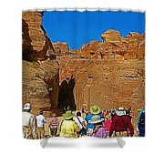 Entering Mile-long And 600 Foot High Gorge Leading To Treasury In Petra-jordan  Shower Curtain