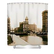 Erie Canal On Salina Street In Syracuse New York - Circa 1904 Shower Curtain