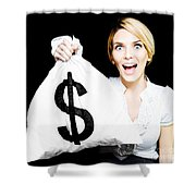 Euphoric Business Woman Holding Unexpected Windfall Shower Curtain