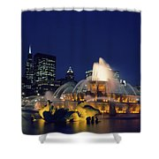 Evening At Buckingham Fountain - Chicago Shower Curtain