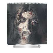 Evil Dead Vampire Woman Looking In Bloody Window Shower Curtain