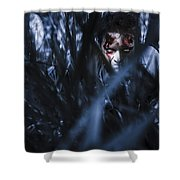 Evil Man Hiding In Silence At Dark Forest  Shower Curtain