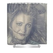 Face Of Beautiful Woman In Makeup Close-up Shower Curtain