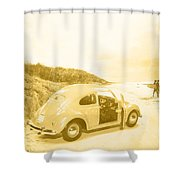 Faded Film Surfing Memories Shower Curtain