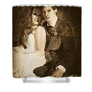 Faded Vintage Wedding Photograph Shower Curtain