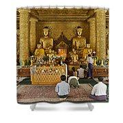 faithful Buddhists praying at Buddha Statues in SHWEDAGON PAGODA Shower Curtain
