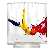 Falling Glasses Of Paint Shower Curtain