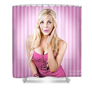 Fantastic Blond Pinup Girl With Surprised Look Shower Curtain
