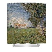 Farmhouse In A Wheat Field Shower Curtain
