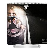 Fast Business Woman Driving Car With Light Trails Shower Curtain