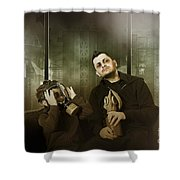 Father And Son In Gasmask. Nuclear Terror Attack Shower Curtain