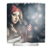 Female Fashion Model Holding Jewelry Necklace Shower Curtain