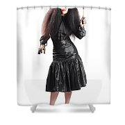 Female Jester Holding Lit Fire Torch Shower Curtain