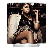 Female Mobster Seated At Dark Bar Shower Curtain