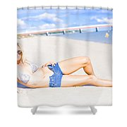 Female Vacationer Relaxing At Tropical Paradise Shower Curtain